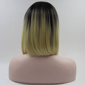 ITYMAHAIR Off Black to Platinum Blonde Ombre Straight Bob Synthetic Lace Front Wig-IABOB11-03