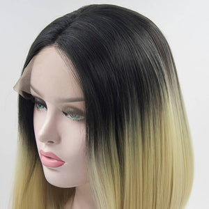 ITYMAHAIR Off Black to Platinum Blonde Ombre Straight Bob Synthetic Lace Front Wig-IABOB11-04
