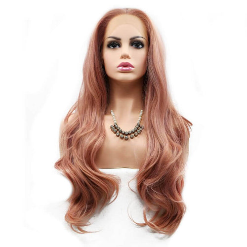 ITYMAHAIR Orange Pink Wavy Long Synthetic Lace Front Wig-IALONG25-01