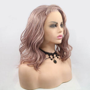 ITYMAHAIR Peachy Pink Wavy Bob Synthetic Lace Front Wig with Side bangs-IABOB15-02