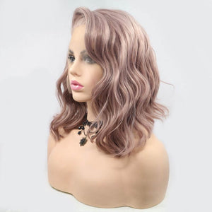 ITYMAHAIR Peachy Pink Wavy Bob Synthetic Lace Front Wig with Side bangs-IABOB15-03