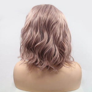 ITYMAHAIR Peachy Pink Wavy Bob Synthetic Lace Front Wig with Side bangs-IABOB15-04