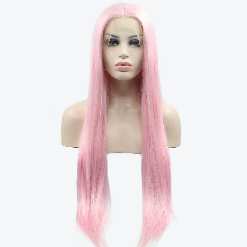 ITYMAHAIR Pink Straight Long Synthetic Lace Front Wig-IALONG02-01