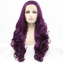 Load image into Gallery viewer, ITYMAHAIR Purple Big Wavy Long Synthetic Lace Front Wig-IALONG20-01