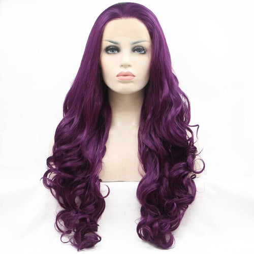 ITYMAHAIR Purple Big Wavy Long Synthetic Lace Front Wig-IALONG20-01
