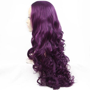 ITYMAHAIR Purple Big Wavy Long Synthetic Lace Front Wig-IALONG20-02