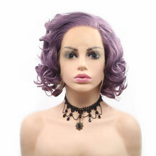 Load image into Gallery viewer, ITYMAHAIR Purple Wavy Bob Short Synthetic Lace Front Wig with Side Bangs-IABOB27-01