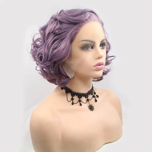 ITYMAHAIR Purple Wavy Bob Short Synthetic Lace Front Wig with Side Bangs-IABOB27-02
