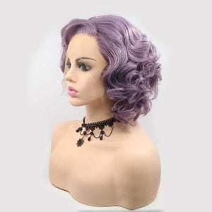 ITYMAHAIR Purple Wavy Bob Short Synthetic Lace Front Wig with Side Bangs-IABOB27-03