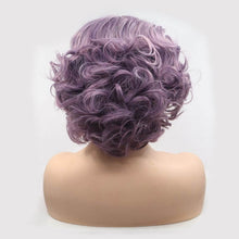 Load image into Gallery viewer, ITYMAHAIR Purple Wavy Bob Short Synthetic Lace Front Wig with Side Bangs-IABOB27-04