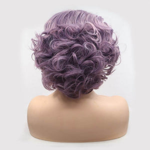 ITYMAHAIR Purple Wavy Bob Short Synthetic Lace Front Wig with Side Bangs-IABOB27-04