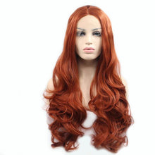 Load image into Gallery viewer, ITYMAHAIR Reddish Brown Wavy Long Synthetic Lace Front Wig-IALONG24-01