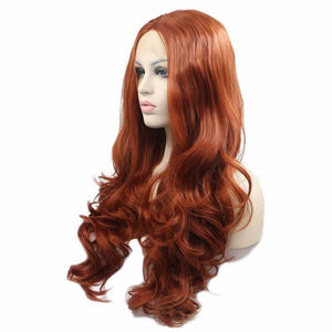 ITYMAHAIR Reddish Brown Wavy Long Synthetic Lace Front Wig-IALONG24-02
