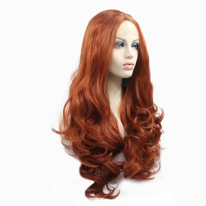 ITYMAHAIR Reddish Brown Wavy Long Synthetic Lace Front Wig-IALONG24-03