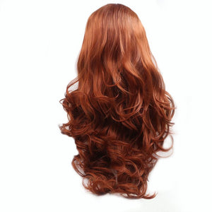 ITYMAHAIR Reddish Brown Wavy Long Synthetic Lace Front Wig-IALONG24-04