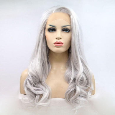 ITYMAHAIR Silver Grey Wavy Long Synthetic Lace Front Wig-IALONG04-01