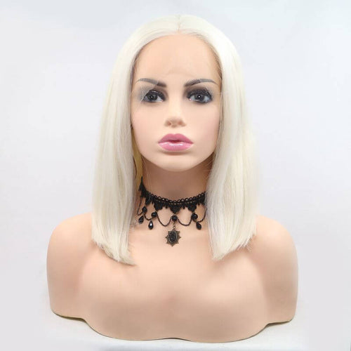 ITYMAHAIR White Straight Bob Short Synthetic Lace Front Wig-IABOB07-01