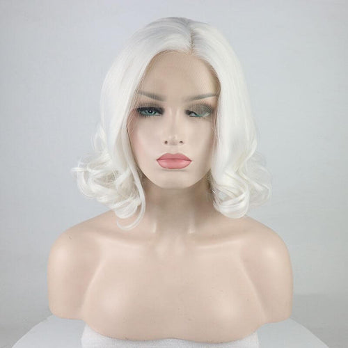 ITYMAHAIR White Wavy Bob Short Synthetic Lace Front Wig-IABOB17-01