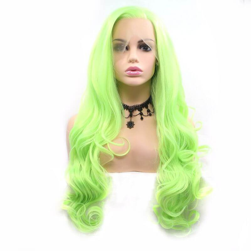 ITYMAHAIR Yellow Green Wavy Long Synthetic Lace Front Wig-IALONG38-01
