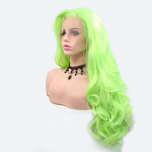 ITYMAHAIR Yellow Green Wavy Long Synthetic Lace Front Wig-IALONG38-02