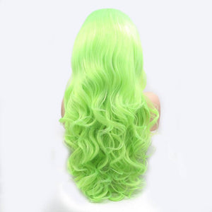 ITYMAHAIR Yellow Green Wavy Long Synthetic Lace Front Wig-IALONG38-03