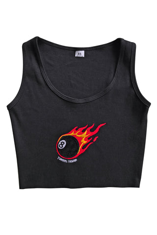 Flamin' 8 Ball Embroidered Crop Tank