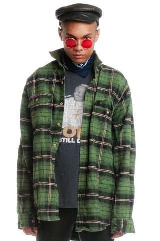 Vintage 90's Black & Green Tall Flannel - L/Xl