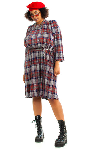 Vintage 70's Plaid Ruffle Midi Dress - 2X/3X/4X
