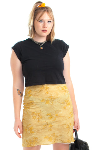 Vintage 90's Butter Floral Mini Skirt - XL