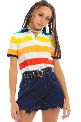 Vintage 90's Rainbow Stripe Polo - One Size Fits Many
