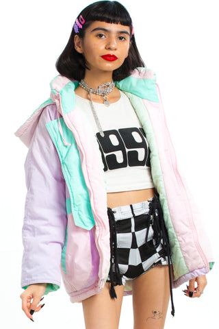 Vintage 90's Pastel Joy Hooded Winter Coat - XS