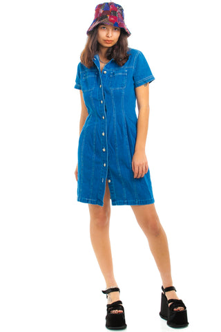 Vintage 90's Forenza Button-Front Denim Mini Dress - M