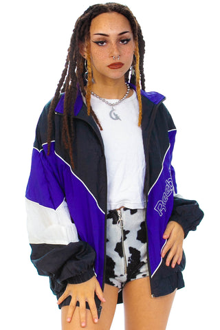 Vintage 80's Reebok Purple Mix Windbreaker - One Size Fits Many