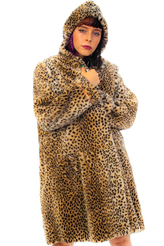 Vintage 90's Faux Fur Cheetah Print Hooded Jacket - One Size Fits Many