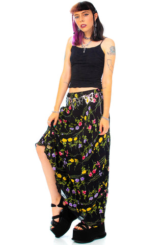 Vintage 90's Night Garden Floral Maxi Skirt - One Size Fits Many