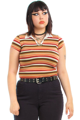 Vintage Y2K Weaver Girl Striped Polo Top - One Size Fits Many