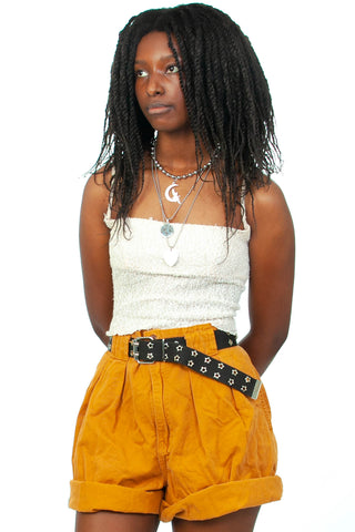 Vintage 80's Palmetto's Pleated Mustard Shorts - M/L