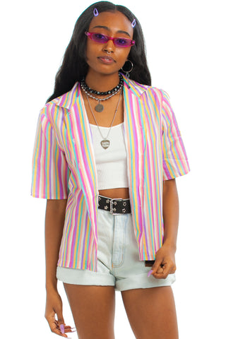 Vintage 80's Pastel Stripe Button-Front Shirt - One Size Fits Many