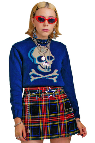 Vintage Y2K Skully Sweater - XS/S