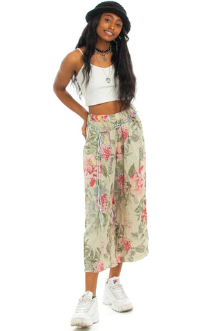 Vintage 90's Italian-Made Linen Floral Trousers - XS/S