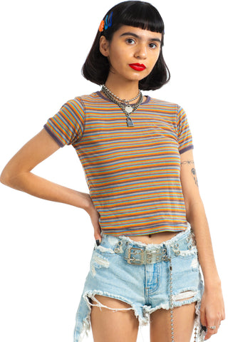Vintage Y2K Fall Into It Striped Baby Tee - XS/S