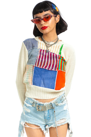 Vintage 70's Patchwork Rainbow Sweater - XS