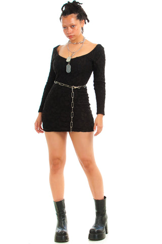 Vintage 90's Jenny Jazz Lace Mini Dress - S/M