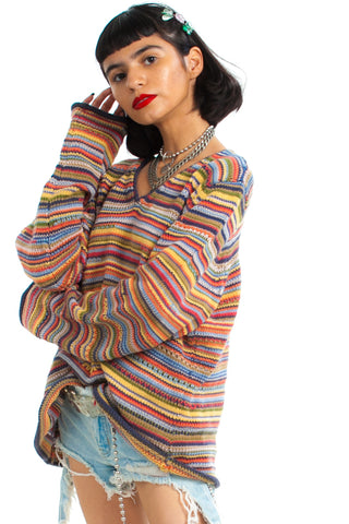Vintage 90's The Big Chill Striped Sweater - One Size Fits Many
