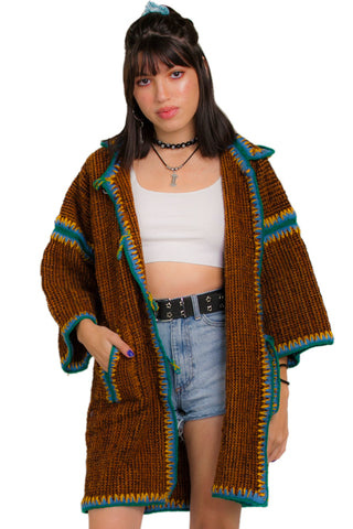 Vintage 90's Hooded Wool Cardigan - XS/S/M