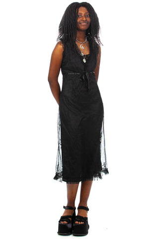 Vintage 90's Black Mesh Empire Waist Midi Dress - S/M