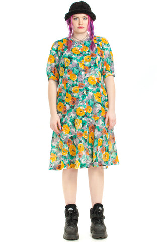 Vintage 80's I'm a Sun Flower Midi Dress - XL