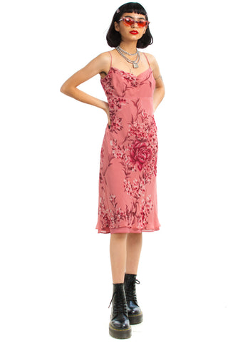 Vintage 90's Silk Rose Midi Dress - XS