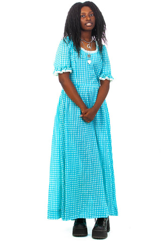 Vintage 1976 Cottage Core Prairie Vibe Gingham Check Dress - S/M