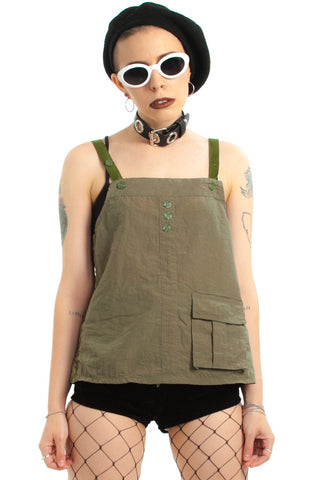 Vintage Y2K Army Parachute Top - XS/S